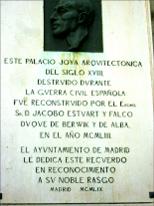 Placa conmemorativa. Palacio de Liria